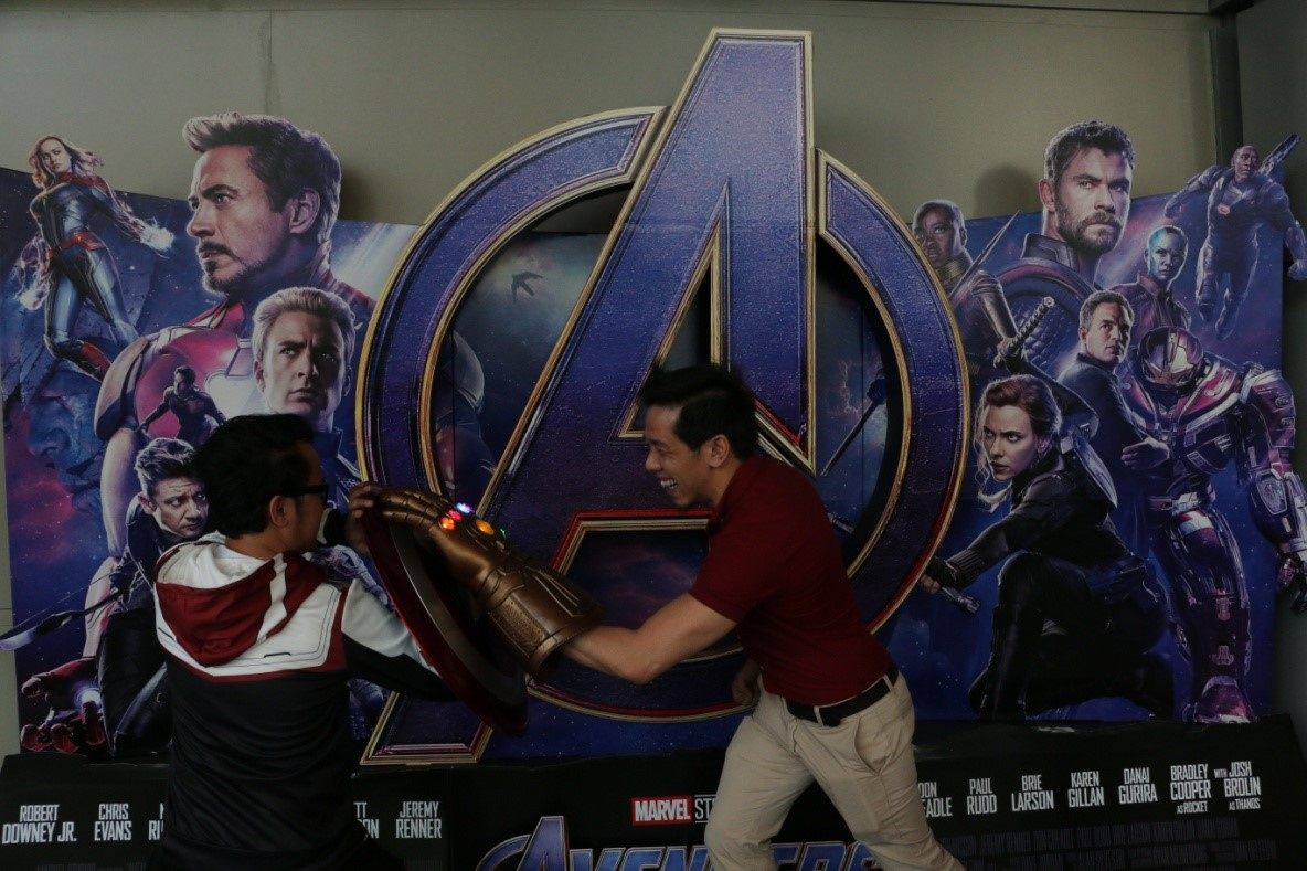 Truelogic's nonTitan but equally as powerful General Manager, Bernard San Juan crushing Captain Tim, from Business Development, with his fancy infinity gauntlet